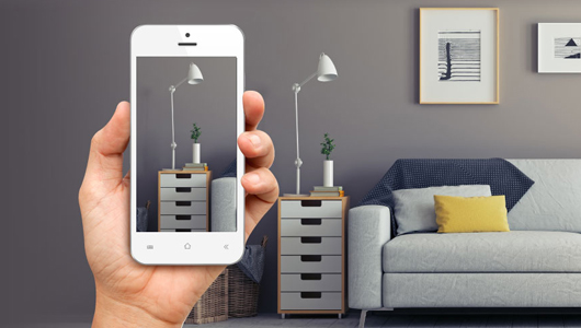 Smartphone filming a living room